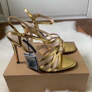 Zara Strappy Heel Gold Sandals New